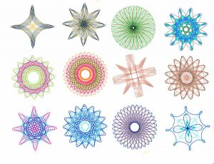 A dozen spirograph designs from SpirographicArt.com