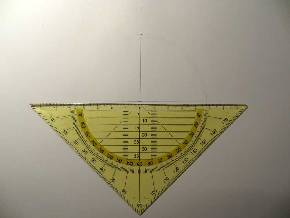 protractor used to draw horizontal line