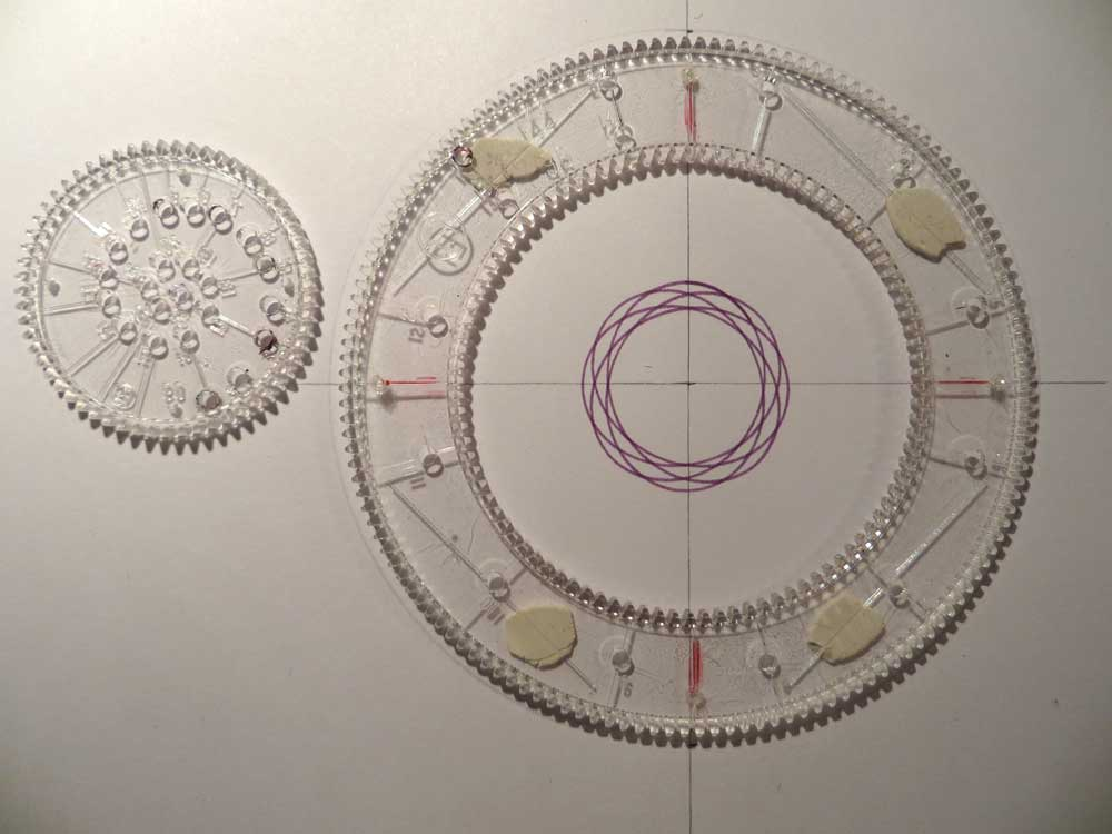 Spirograph pattern drawn with the first ring